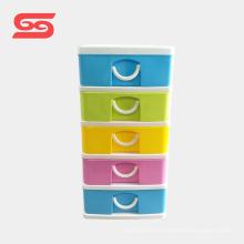 Caixa de armazenamento de jóias de plástico durável mini armário 5-camada com bom preço