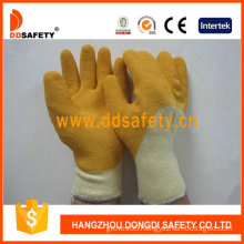 Beige T/C Shell with Yellow Latex Rough Finished Glove (DKL711)