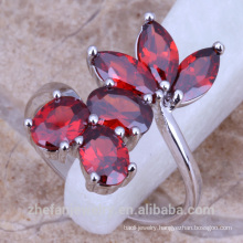 Korea plastic fashion ruby flower rings women's jewelry