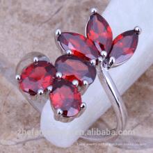 Корея пластиковые мода Рубин цветок кольца женские ювелирные изделия