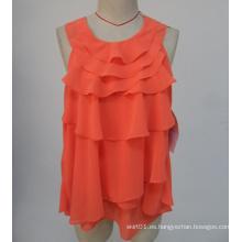 Venta caliente nuevo Arrvial O-cuello de color naranja mangas señora sin mangas Blusa