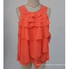 Hot Sale New Arrvial O-Neck couleur orange Chemisier sans manches pour dames