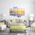 Golden Beach Wall Art / Seascape Pictures Печать на холсте / Восход солнца на море Холст Art