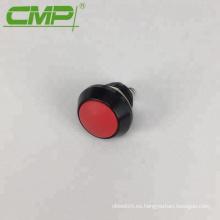 Metal redondo momentáneo SPST 12 mm negro interruptor de botón