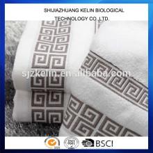 100% algodão bordado logotipo toalha de banho branco