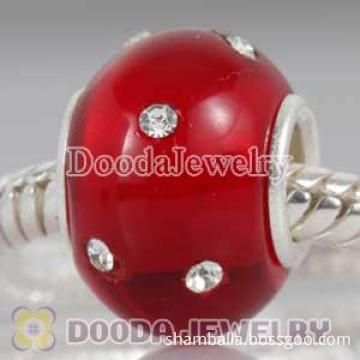 Kera style Silver Polished Glass Red Bead With Austrian Crystal Accents Suit European Bracelet