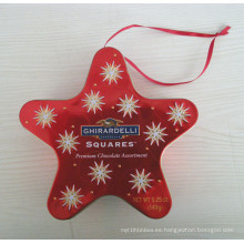 Caja de estaño de estrella para la Navidad (JYL081102)