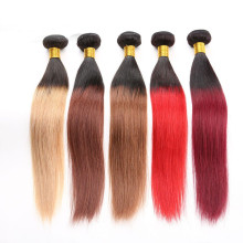 No MOQ T black to blonde/red/brown/light brown hair extension packaging Brazilian hair