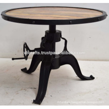 New Black Crank Coffee table With Round Wooden Top with Metal Frame