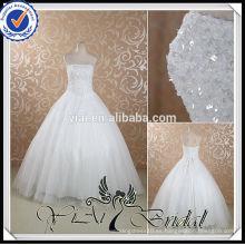 RSW445 Rhinestone barato rebordeado lino hecho vestidos de boda por debajo de 100