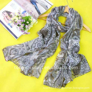 Wholesale100 polyester voile long scarf