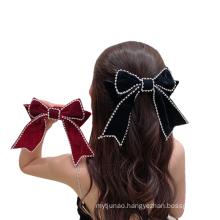New Rhinestone Flannel Red Black Big Hair Barrettes Bow Knot Fashion Accessories Hairpin Korean Luxury Spring Clip