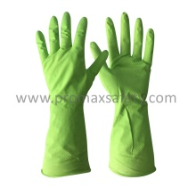 Flocked Green Household Latex Glove with Ce Approved