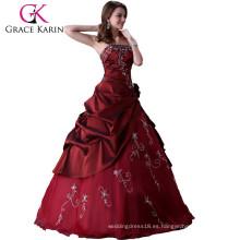 Grace karin larga longitud del piso rojo Prom Wedding vestido de novia vestido de novia CL2516