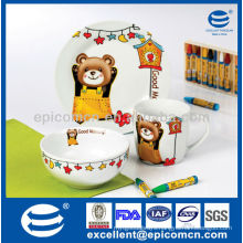 cute decoration children porcelain children breakfast set with bear decoration