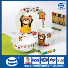 Decoração de crianças bonito porcelana crianças pequeno-almoço conjunto com decoração de urso