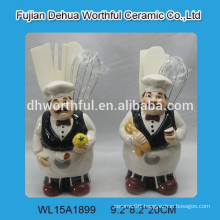 2016 lovely chef design ceramic utensil holder for kitchen