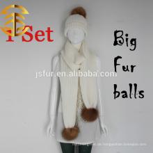 2015 Handgefertigte Wolle Strickmütze Schals Sets Heavy Knit Pelz Hut und Schal