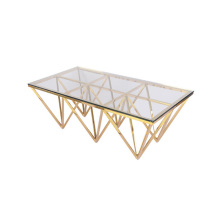 Unique design glass coffee table with metal legs