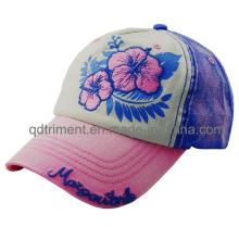 Pesado lavado puntadas gruesas bordado de impresión Baseball Cap deportivo (TMB0324)