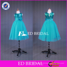 ED Beidal Real Sample Crew Neck Sequin Top Ball Gown Floor Length Tulle Green Flower Girl Dress 2017