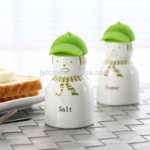 sel et poivre avec bouchon en silicone, autocollant vert