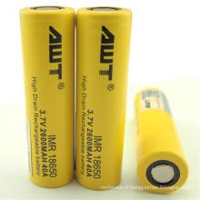 Alle 18650 batterie rechargeable à haute drainage Li-ion de 2600mAh pour EFusion DNA200