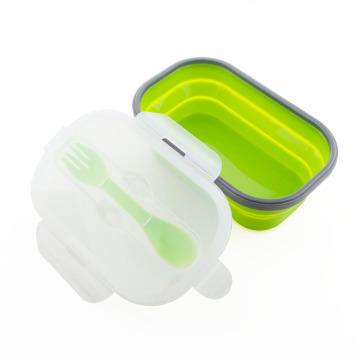 Caixa de refeição dobrável em silicone para micro-ondas
