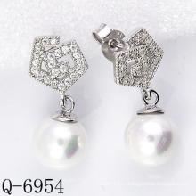 Последние стили Культурные серьги из перлы 925 Silver (Q-6954)