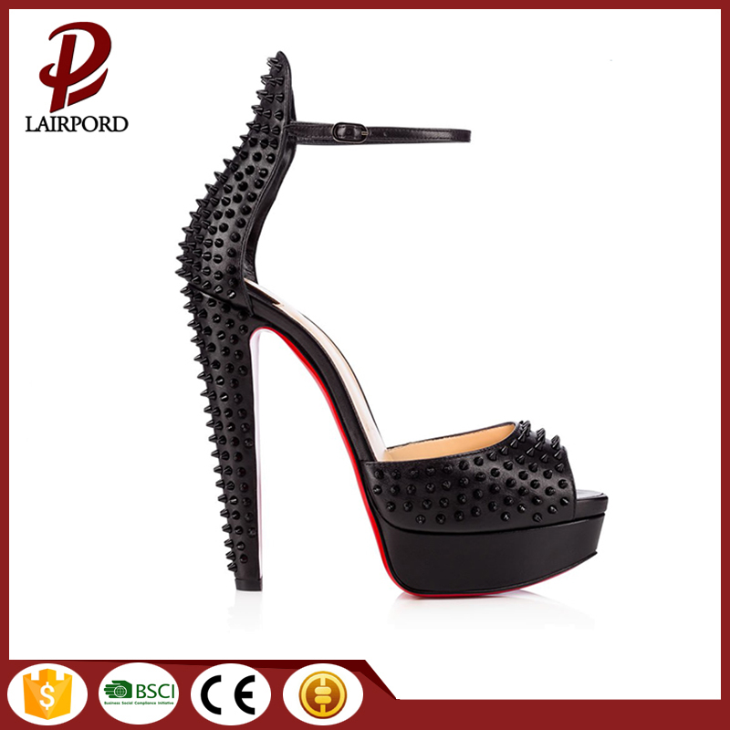 high cone heel rivet platform leather sandals