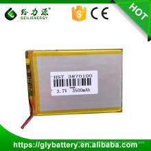 Bateria longa de Atleta GLE 3.7v do perseguidor 3.7v de GPS da bateria do Li-polímero 3870100 3500mAh