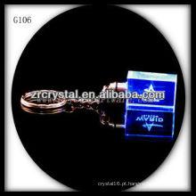 Chaveiro de cristal LED com imagem 3D gravado a laser dentro e em branco chaveiro de cristal G106
