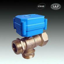 Válvula de bola eléctrica BSP de 3 vías para medidores de agua / medidores de tarjetas IC