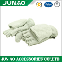 Polar fleece half fingers gloves with flap
