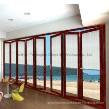 Porte pliante bi-pliante en aluminium de conception de bonne qualité pour la villa (FT-D75)