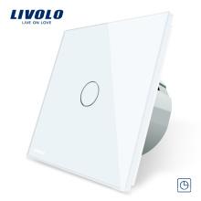 Panneau en verre cristal Livolo, interrupteur de lumière murale à commande tactile avec minuterie tactile 220V / 50 ~ 60Hz VL-C701T-11/12/15