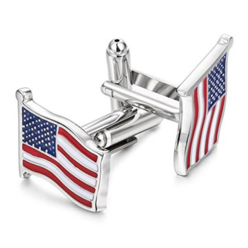 Moda USA American Flag Silver Spinki do mankietów