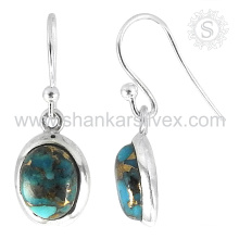 Trendy copper turquoise silver earring gemstone handmade jewelry 925 sterling silver jewelry manufacturer
