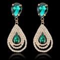 Circle Rhinestone Drop Earrings Fashion Jewelry