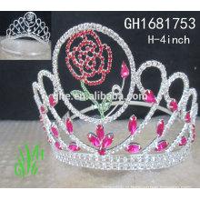 Nouveaux designs rhinestone royal accessories personnalisé courte couronnes et tiaras