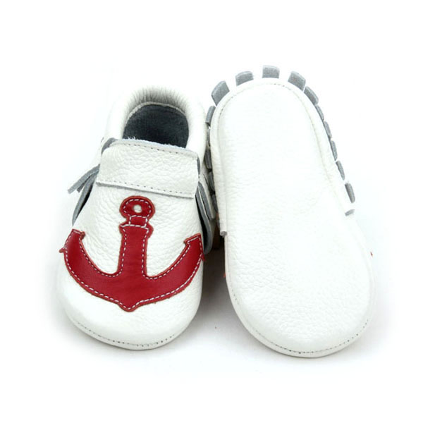 Anchor Attached Genuine Leather Unisex Baby Moccasin Shoes