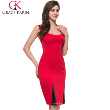 2015 Grace Karin Newest Ladies Knee Length Red Vintage Dresses With Cheap Price CL4591-1
