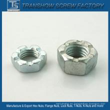 Tuerca hexagonal de acero dulce galvanizado ranurado