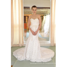 EN STOCK Off-The-Hombro vestido de novia sin mangas de piso-longitud abanico plisados vestidos de novia SW89