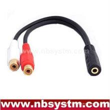 Prise jack 3,5 à 2 x adaptateur câble RCA 20 cm