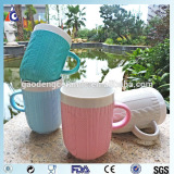 Woolen pattern embossed solid color ceramic mug
