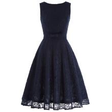 Belle Poque Sleeveless V-Back Navy Blue Lace A-Line Party Picnic Dress Retro Vintage Lace Women Summer Dress BP000272-2