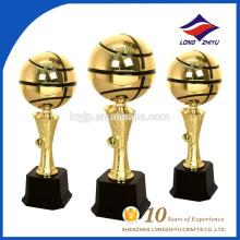 Clásico baloncesto redondo metal trofeo fábrica china