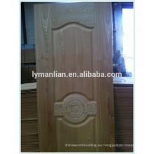 Revestimiento de puerta HDF de melamina para puertas, revestimiento de puerta moldeada de HDF