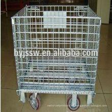 Jaula de almacenamiento galvanizada con ruedas